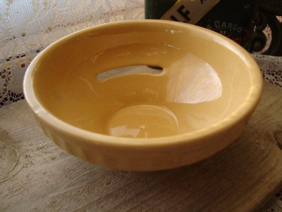 Antique Yelloware Bowl Small Egg Separator T.G. Green Church Gresley England 1880s Ceramic Pottery