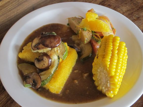 Polenta topped with Sauteed Mushrooms and Baked Zucchini with Mushroom ...