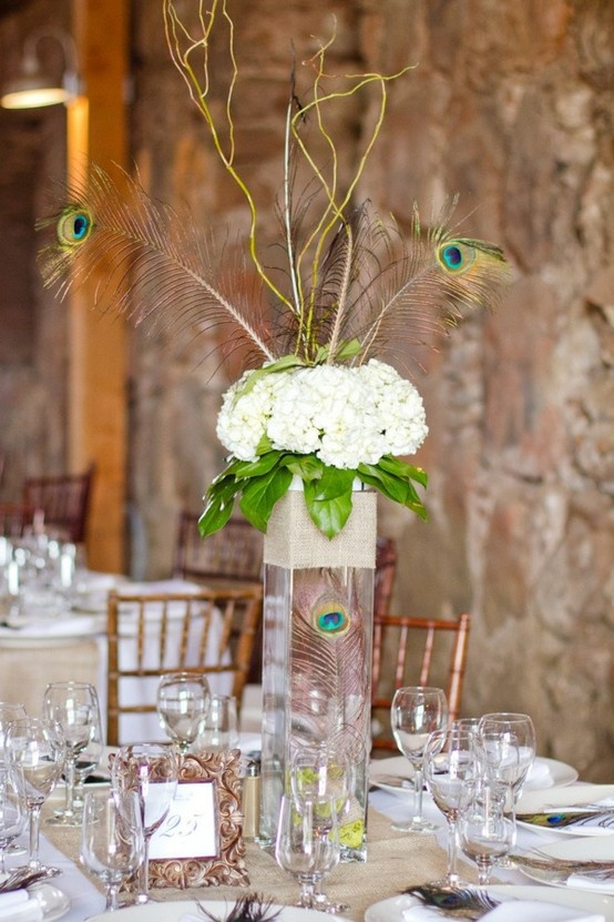 Peacock feather and flower centerpieces imgkid