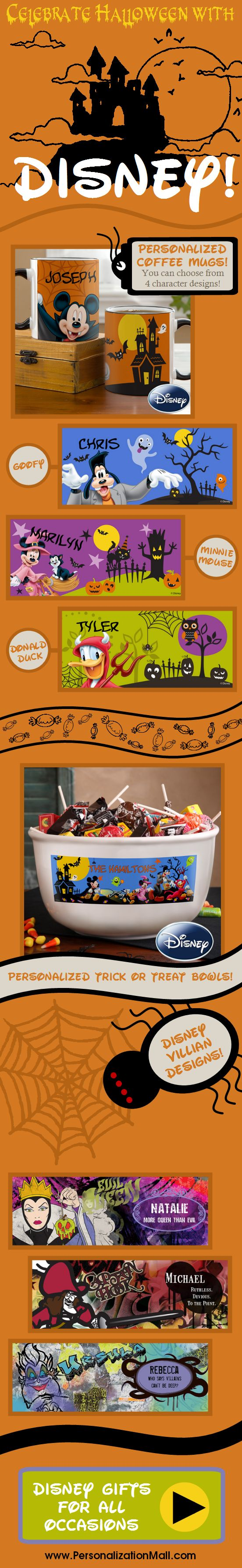 Disney Fans will LOVE this! They're all your favorite Characters dressed up for Halloween! This site has tons of unique Disney Gifts that you can personalize - it's so cool you have to check out this site! #Disney #Mickey