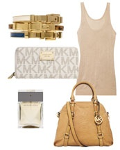 Michael Kors - Extra-Large Bedford Bowling Satchel, Continental Logo Wallet & Buckle Bangle