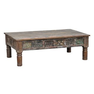 Carved Panel Multi Brown Coffee Table
