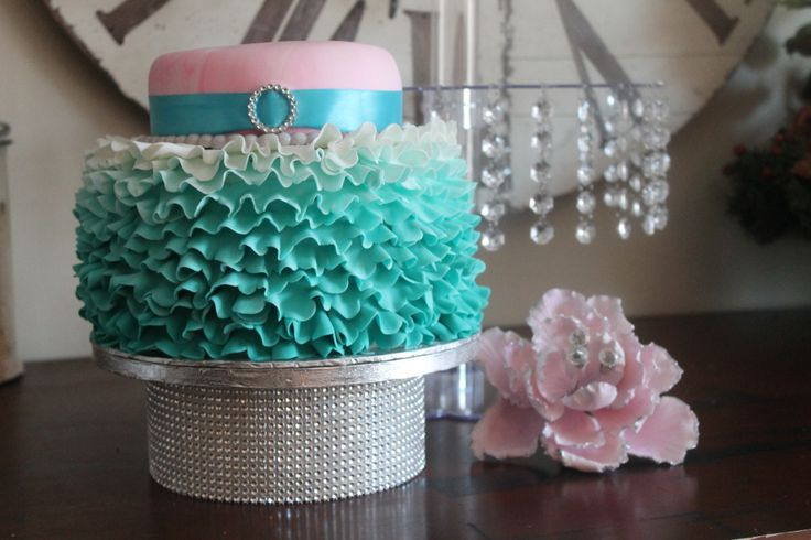teal ombre r... Ombre Cake