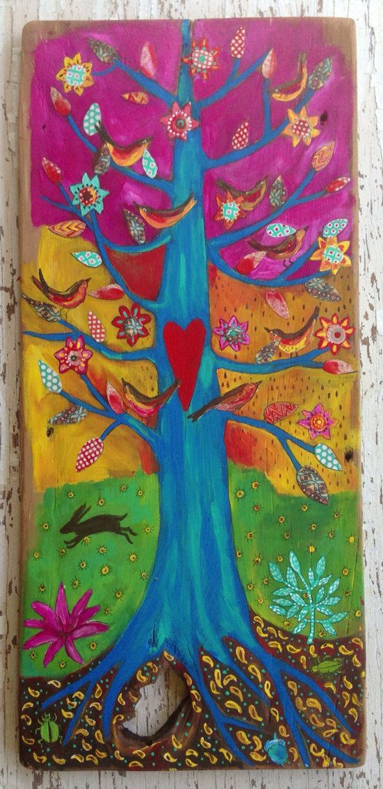 Bohemian Wall Art Birds Reclaimed Wood Folk Art