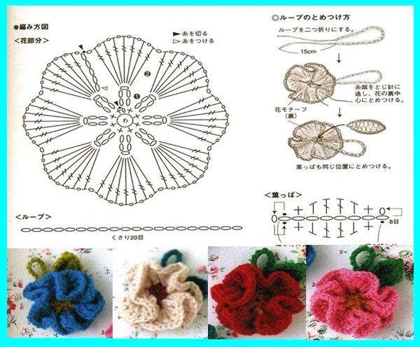Вязание крючком цветов для шапок 50