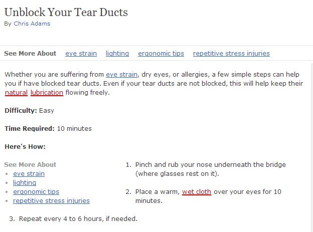 how to clear blocked tear ducts in adults
