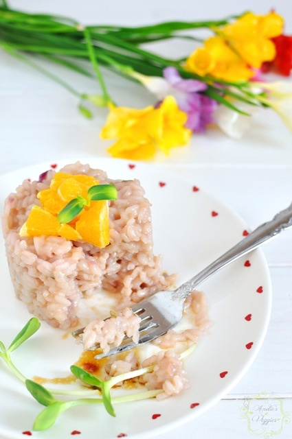 Sangria risotto with orange-hazelnut vinaigrette. Oh, the flavors...