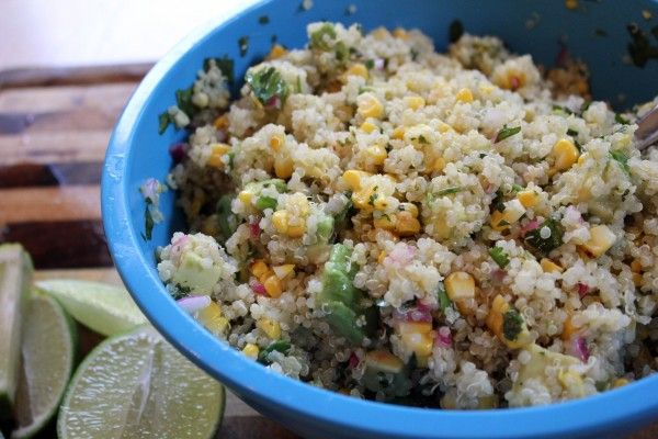 Grilled corn & avocado lime quinoa salad | Salads | Pinterest