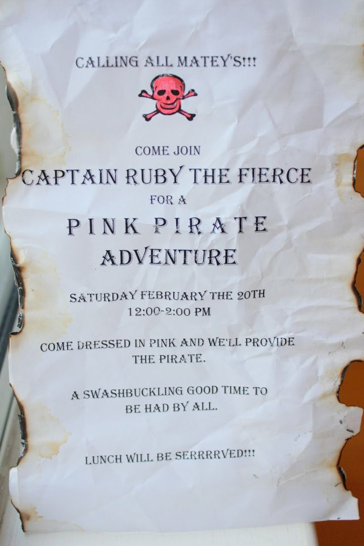 Pirate party - like the wording on the invitation