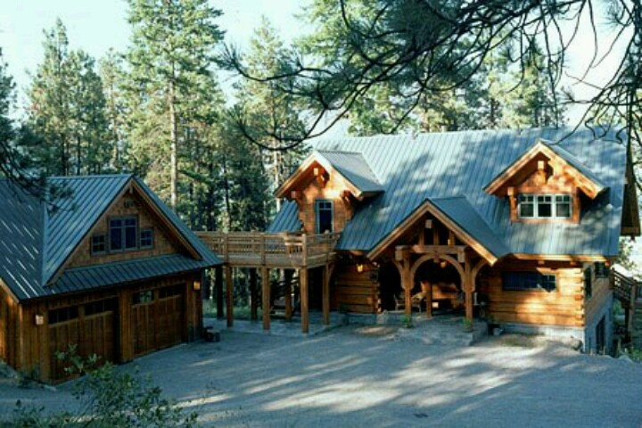 Log Cabin With Log Garage For The Home Pinterest