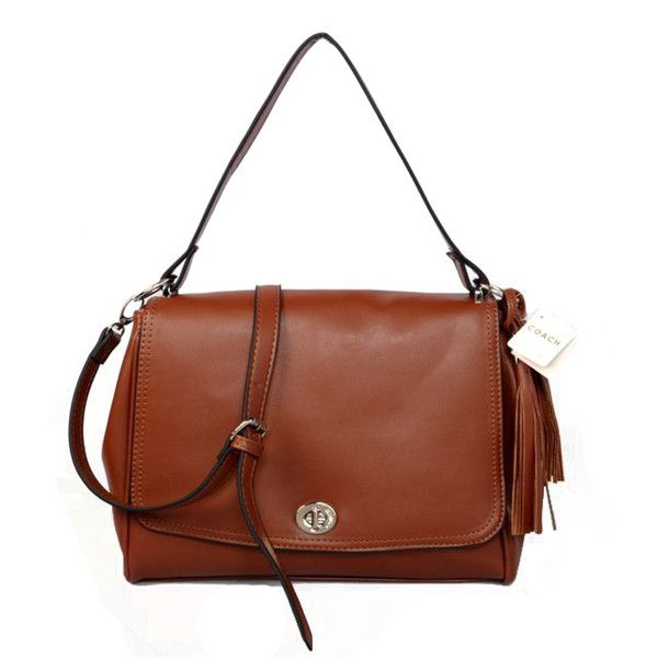 Coach Turnlock Medium Brown Shoulder Bags AYS With You Makes You More Attractive