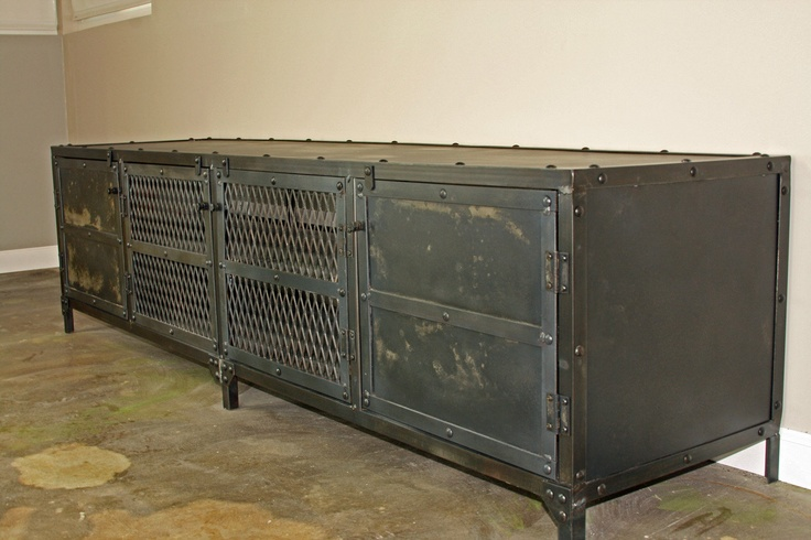Vintage Industrial Media Console Credenza Tv Stand