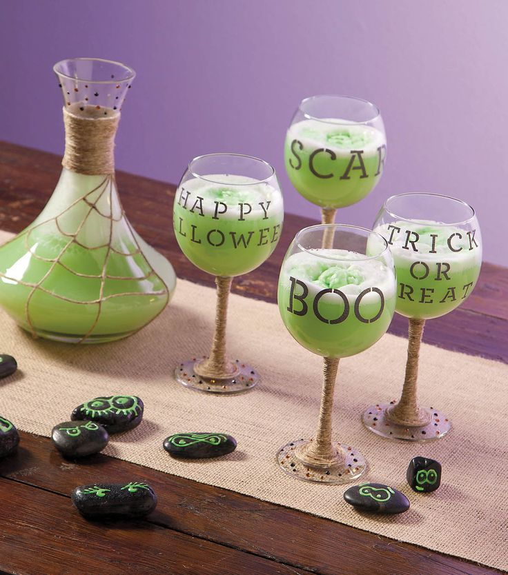 Serve your potion in a Halloween themed #DIY decanter and glassware set!