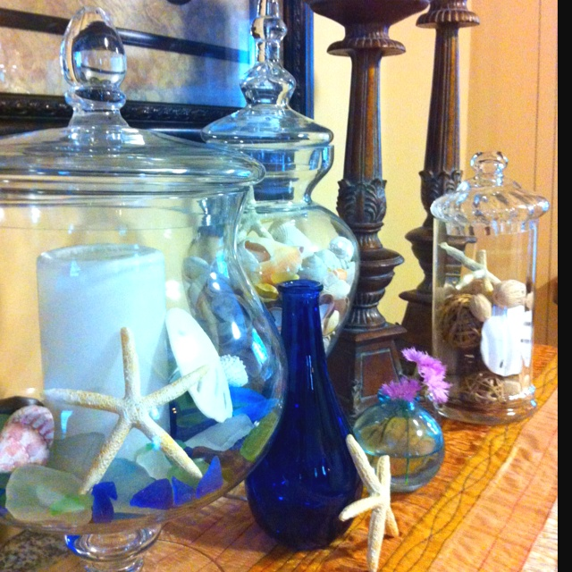 sea glass shells and blue glass decor home pinterest