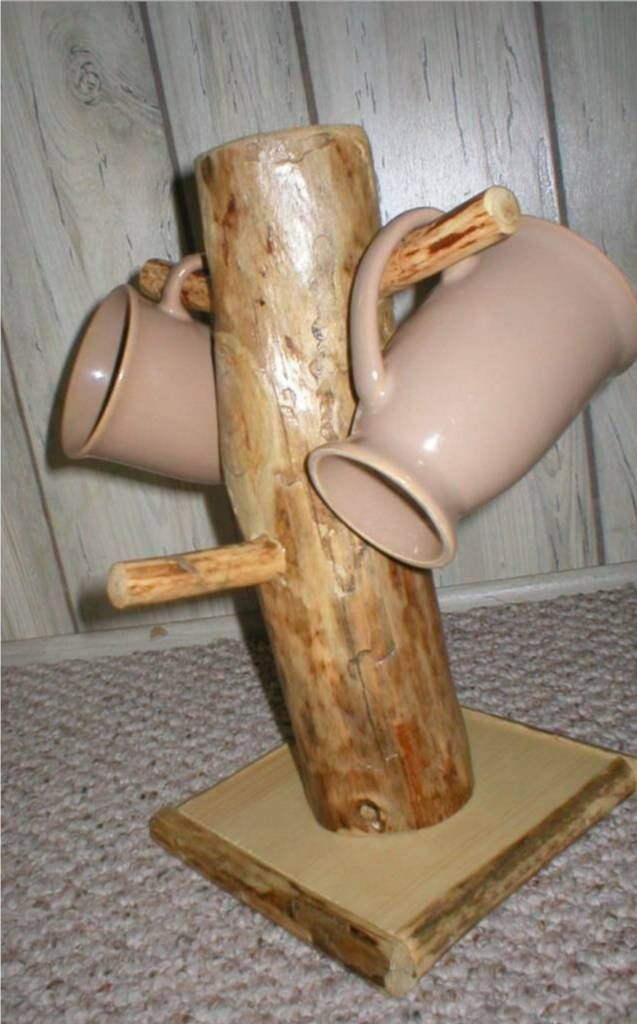 RUSTIC LOG MUG TREE COFFEE CUP HOLDER CABIN DECOR KITCHEN. $17.99, via Etsy.