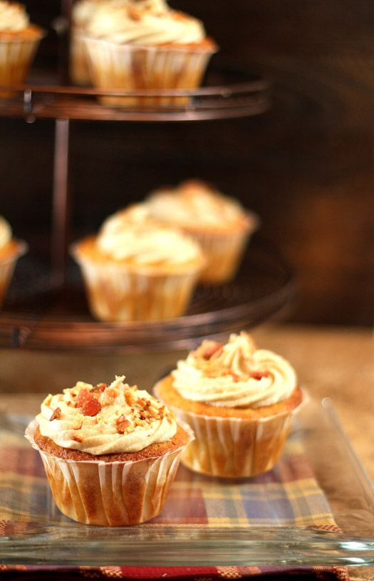 Maple Bacon Cornbread Cupcakes with Maple Frosting Garnished with Bac ...