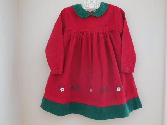 Mayfair Kids Toddler Girl Red Green Corduroy Dress