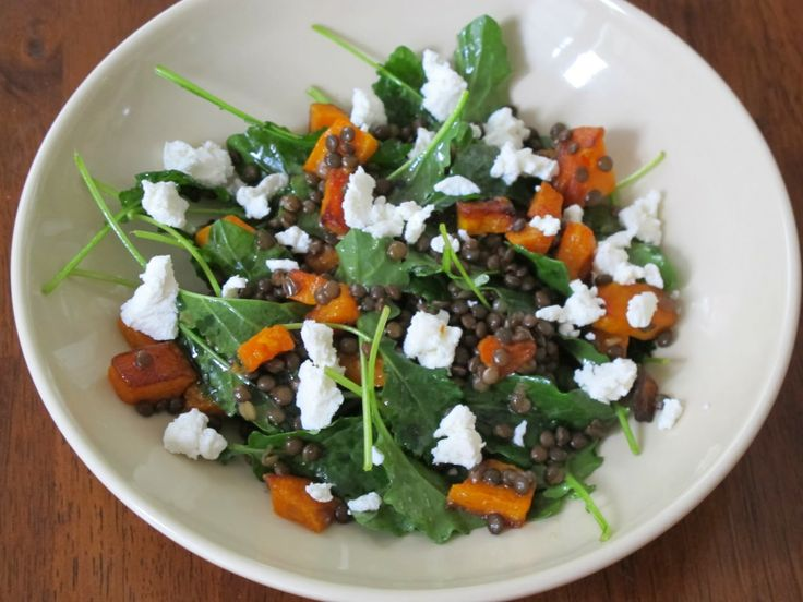 Baby Kale Salad with Butternut Squash, Lentils, & Goat Cheese ...