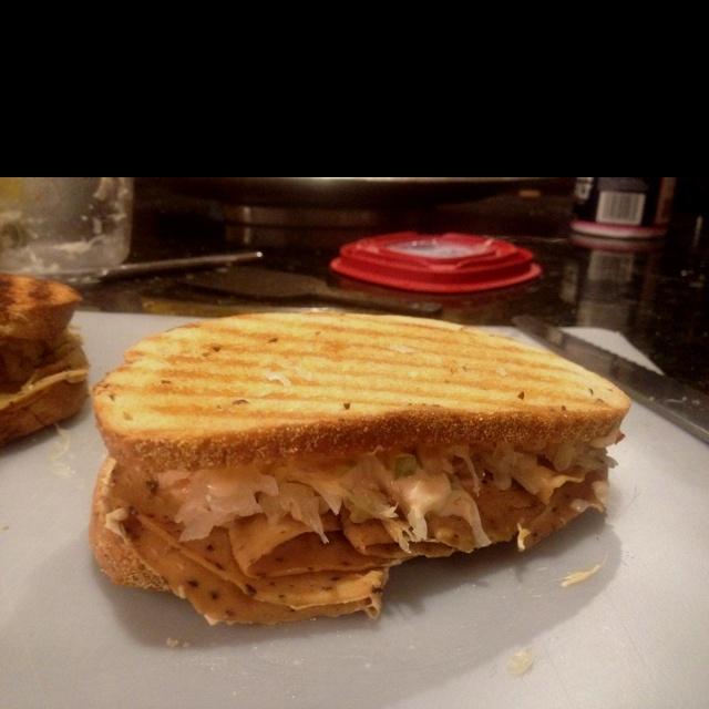 Peppered tofurkey Reuben panini | food | Pinterest
