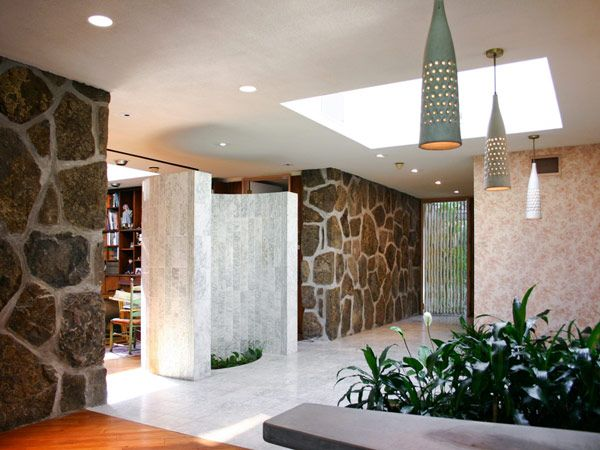 Mid Century Modern Foyer : Stone and light amazing foyer mid century modern