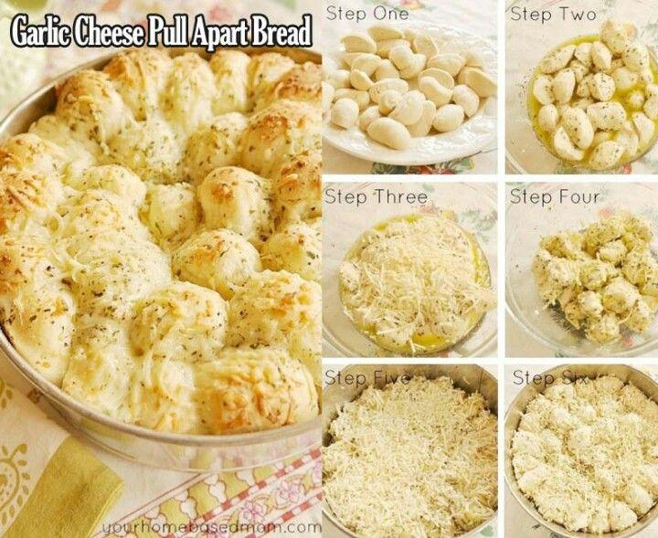 Pull apart cheese garlic bread | Snacks | Pinterest