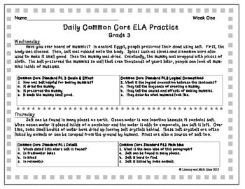 Free common core ela worksheets 3rd grade