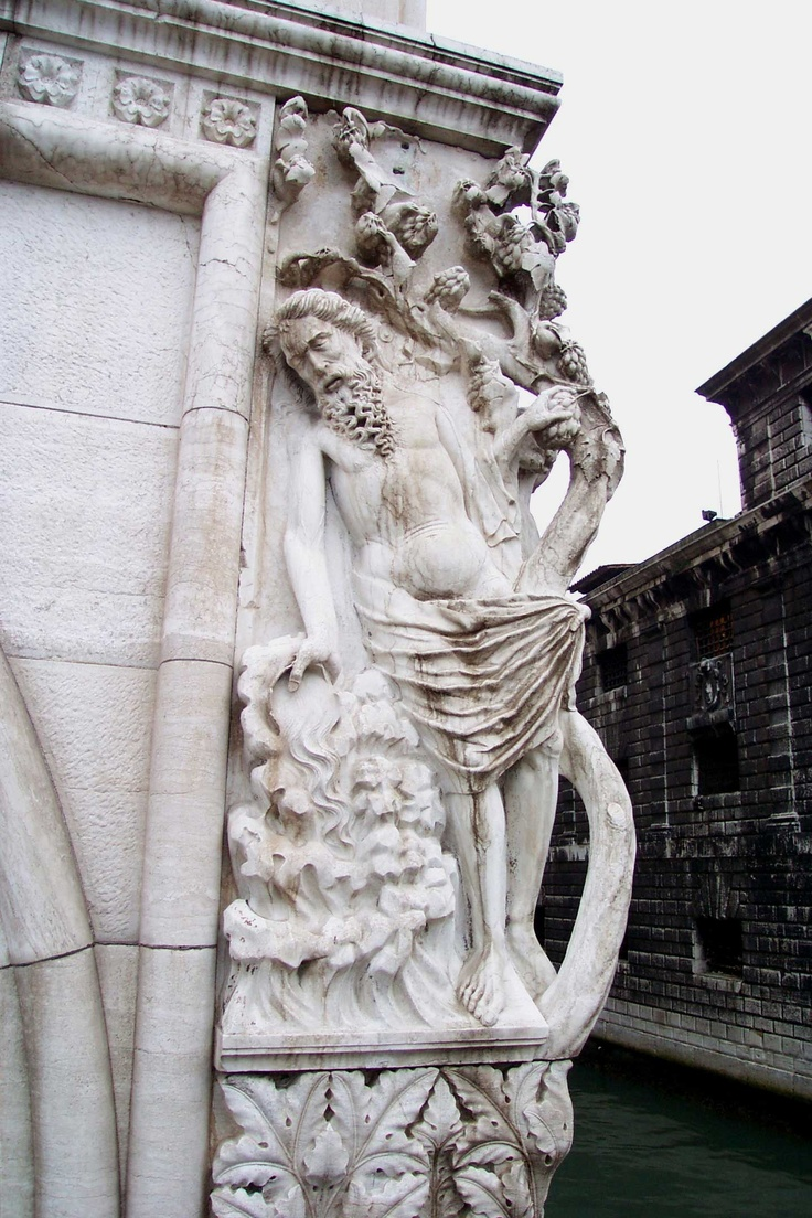 Drunkenness of Noah Sculpture -- Doges' Palace, Venice, Italy    Every corner column on the exterior of the Ducal Palace represents an allegory about justice. These were meant to remind the public servants and the general populace of the high moral standards they should strive to uphold--not that they always did. On the eastern corner of the building is a group representing Drunkenness of Noah, symbolic of the frailty of man. Though weathered by the elements, this carving is a .......