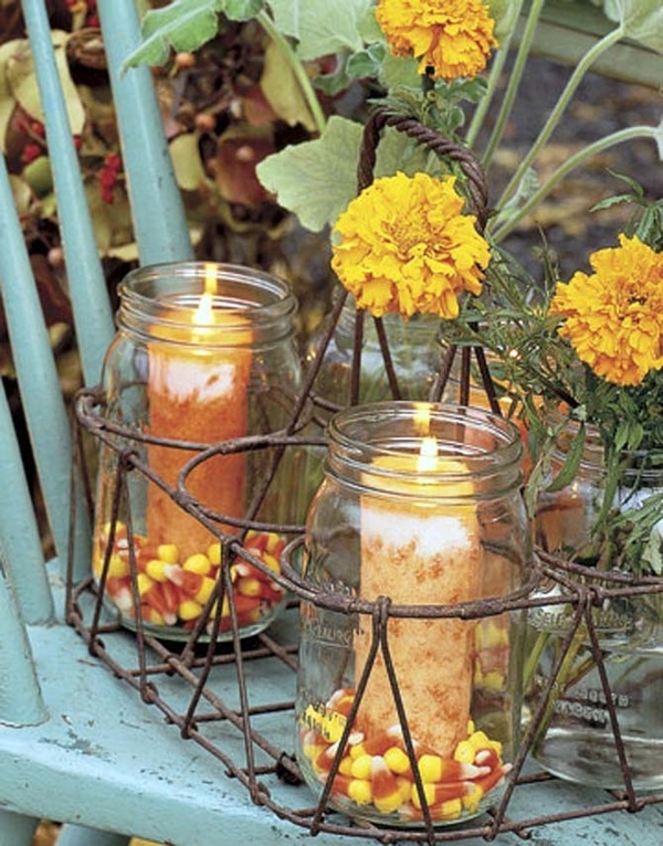 OH yes yes and yes!!! Love the jars, love the candle colors, and definitely gotta love that candy corn. #fall #harvest #party #candles