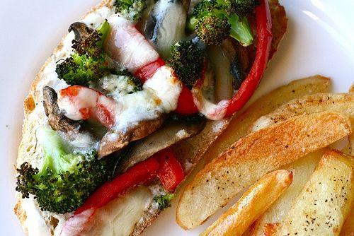 Portobello, broccoli and red pepper melts. Good sub when craving pizza ...