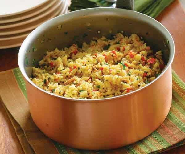 Saffron Rice Pilaf with Red Pepper & Toasted Almonds | Recipe