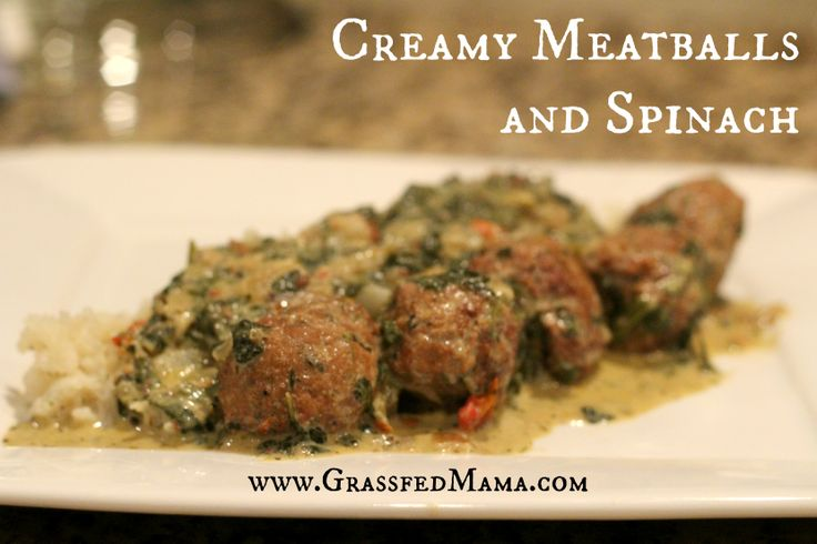 Slow Cooker Creamy Meatballs with Spinach | Recipe