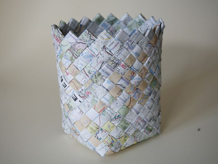 How To Weave A Basket From Old Newspaper : Woven map basket