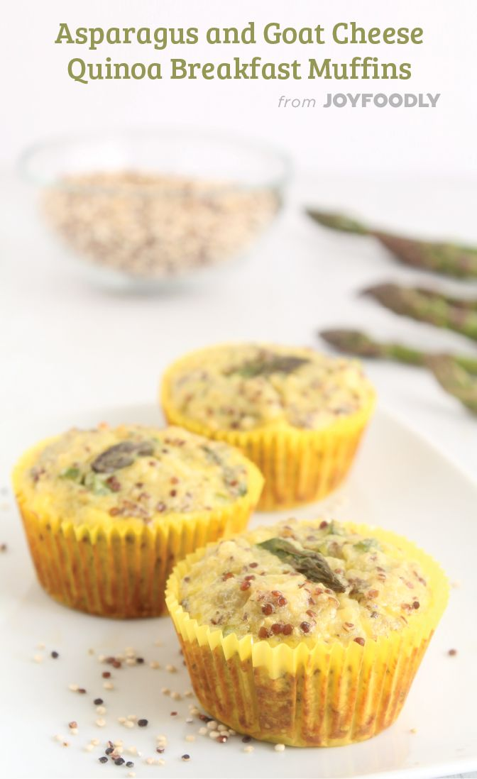 Asparagus and Goat Cheese Quinoa Muffins | Joy Foodly