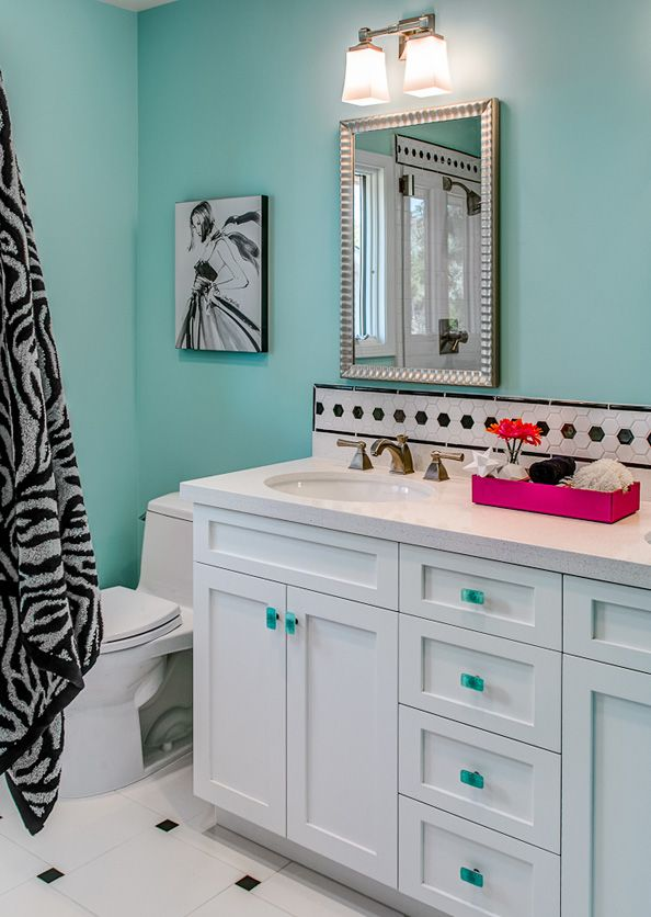 Pink and turquoise bathroom google search dream home for Turquoise and pink bathroom