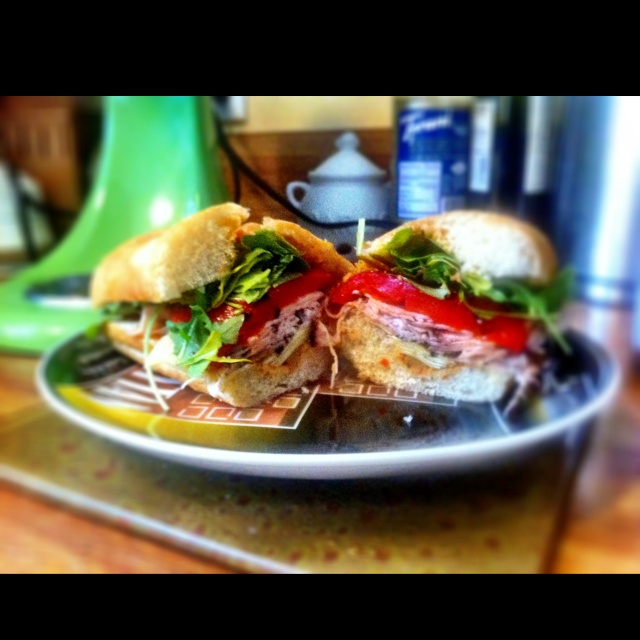 My roasted turkey sandwich with tapenade, artichokes, roasted red bell ...