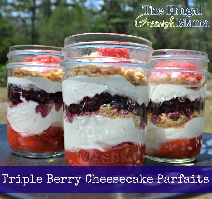 Triple Berry Cheesecake Parfaits - I'm drooling!