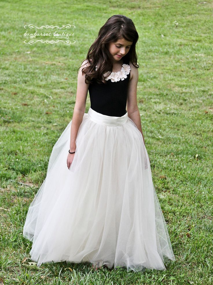 Tutu skirt for girls flower girl dress soft tulle for Wedding dress for girl