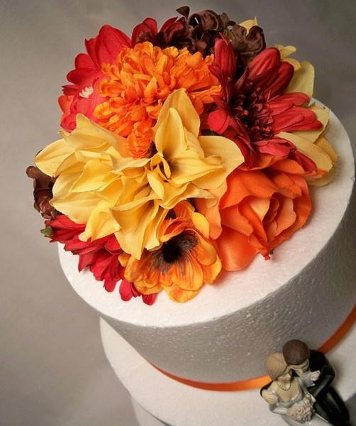 Orange Wedding Flowers Cake Topper Cakes Pinterest