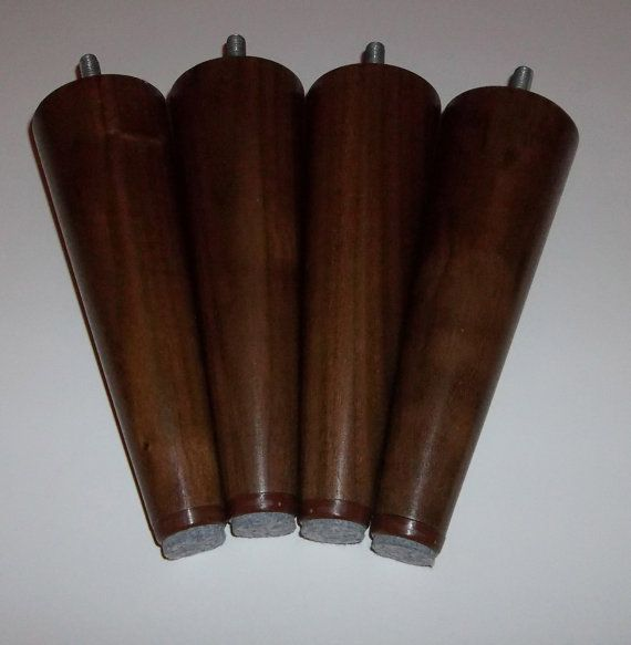 Solid Black Walnut Mid Century Style Replacement Sofa Legs