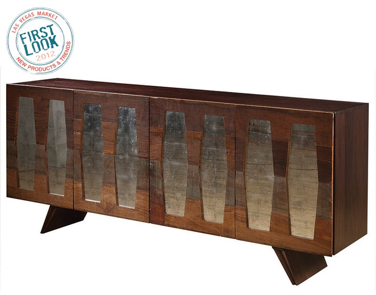New at #lvmkt = 45 new Bina #furniture pieces from Four Hands. Modern elements = antique mirror, recycled canvas & silver leaf.
