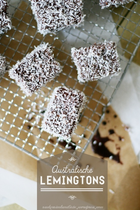 Lemingtons - sponge cake covered in chocolate ganache and coconut