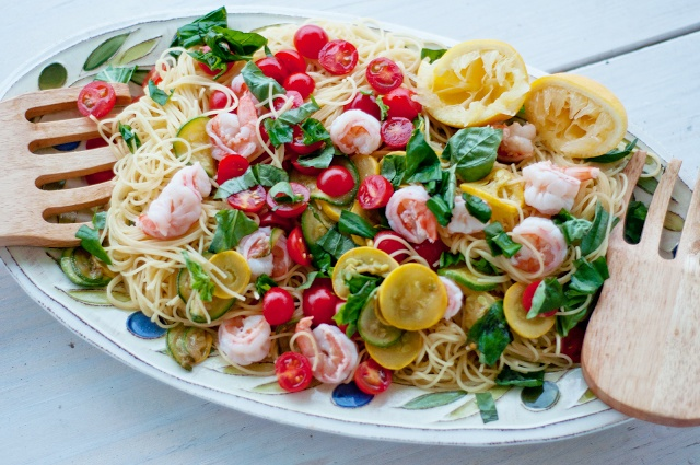 summer pasta with shrimp, vegetables and basil in a butter olive oil ...