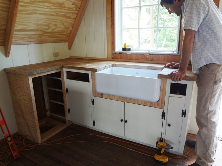 Ikea Utrusta Push Opener Installation ~ Farmhouse sink and Ikea wood counters update original cabinets for a