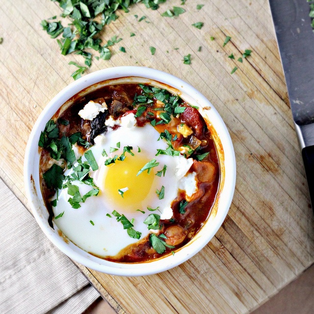 love this twist on shakshouka, with chickpeas, feta and swiss chard