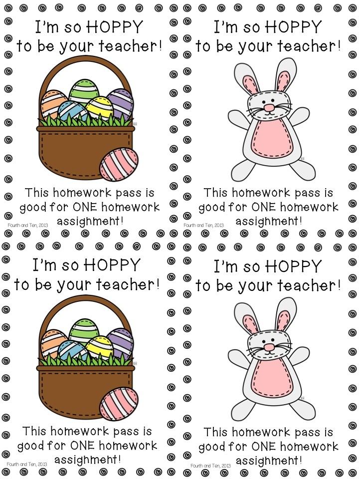 Easter homework pass