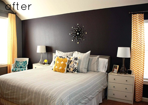 black accent wall in bedroom home design pinterest. Black Bedroom Furniture Sets. Home Design Ideas