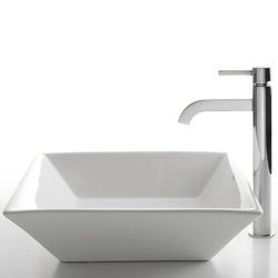 Franke Kitchen Sink Accessories : Kraus White Square Ceramic Sink and Ramus Faucet
