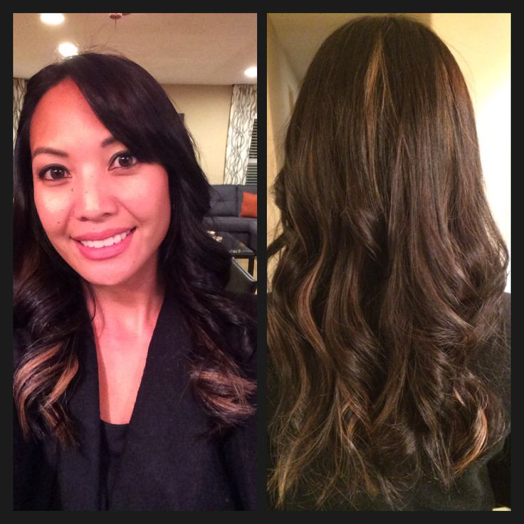 dark brown hair with caramel peekaboo highlights