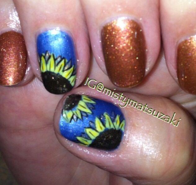 Shellac nail art. Fall nail art | Nail designs | Pinterest