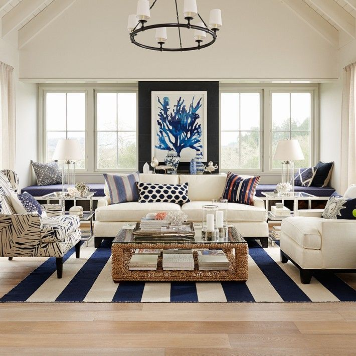 Bring The Shore Into Home With Beach Style Living Room: Wide Stripe Dhurrie Rug
